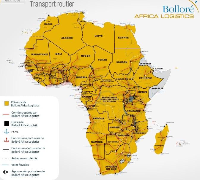 carte réseau routier afrique