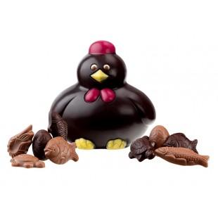 Poule en chocolat noir