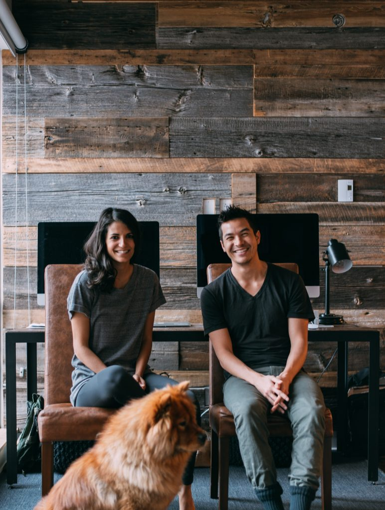 Deux personnes au travail avec leur chien